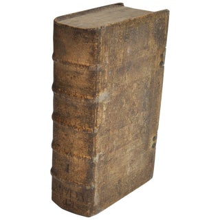 18th Century European Vellum Book With Beautiful Pewter Buckles For Sale