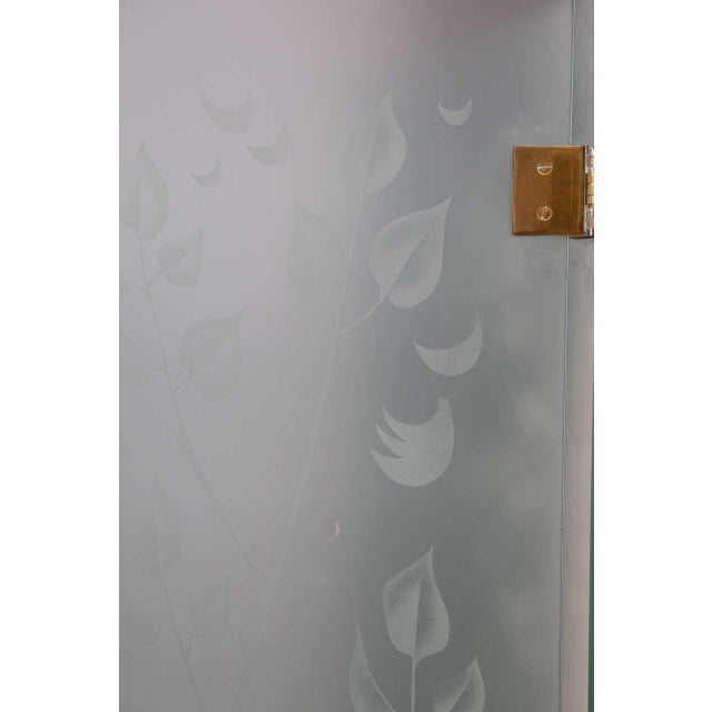 1970s Four-Panel Etched Glass Screen For Sale - Image 5 of 10