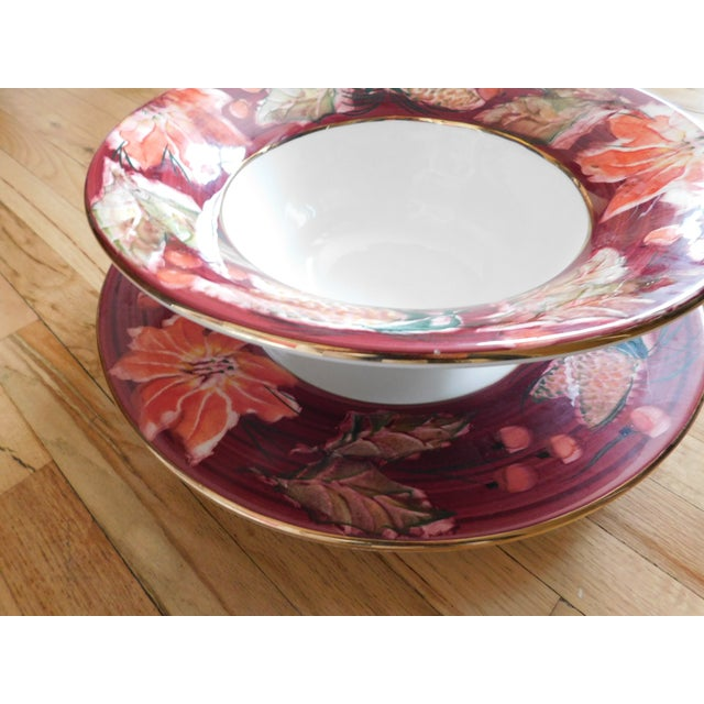 Floral Punch Bowl & Platter Made in Italy - a Pair For Sale - Image 12 of 12