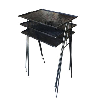 Frederic Weinberg Style Stackable Side Tables with Iron Hairpin Legs For Sale