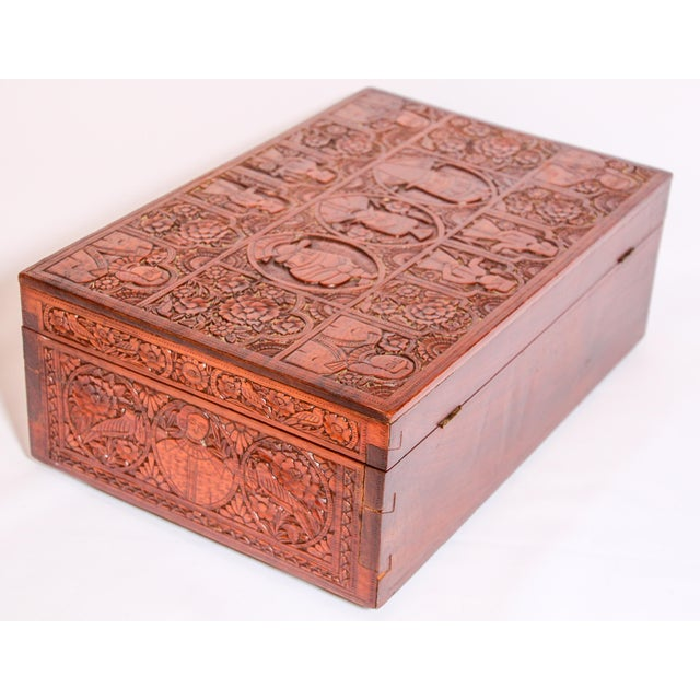Brown Large Early 19th Century Antique Hand Carved Wooden Decorative Box For Sale - Image 8 of 13