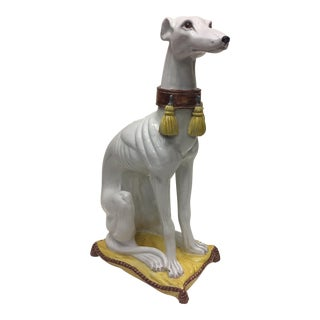 Glazed Terracotta Greyhound Sculpture For Sale