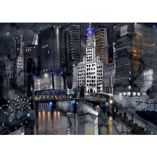 """Chicago Lights, Giclee Print, 14x10"""" For Sale"""
