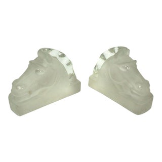 Cast Glass Lalique Mascot Style Art Deco Horse Head Bookends For Sale