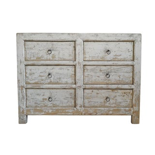 White Wash Elm 6 Drawer Dresser For Sale