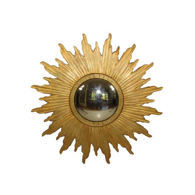 Spanish Gilt Wood Convex Sunburst Mirror For Sale - Image 9 of 9