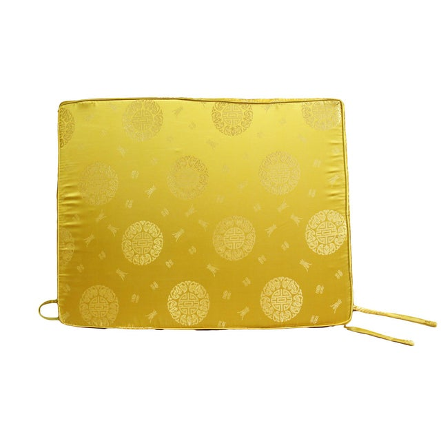 Chinese Oriental Golden Yellow Silk Fabric Rectangular Seat Cushion Pad For Sale In San Francisco - Image 6 of 6