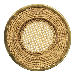 Vintage Woven Platter With Gold Brass Detail