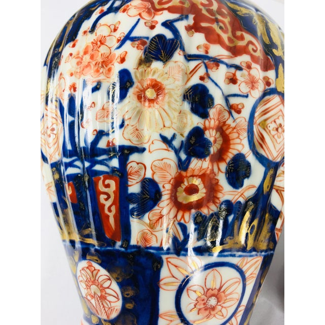 19th Century Hand Painted Japanese Vase With Lid For Sale - Image 4 of 11