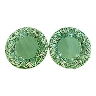 Bordallo Pinheiro Portuguese Green Majolica Plates - Set of 2 For Sale