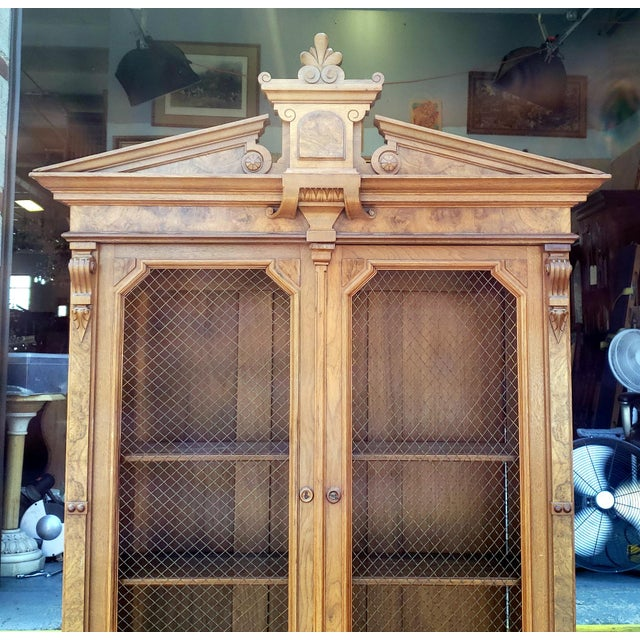 Antique 19th Century Palatial Size Burl Walnut Eastlake Victorian Butler's Secretary Desk C1860 For Sale - Image 11 of 13