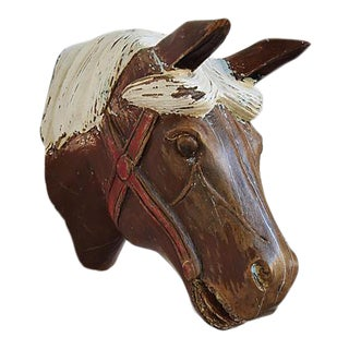1940s Hand-Carved Carousel Horse Head - Wall Mounted