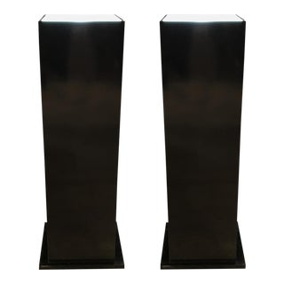 Contemporary Lacquered Wood Lighted Pedestals - a Pair For Sale