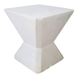 Vintage Postmodern Geometric Plaster Side Table For Sale