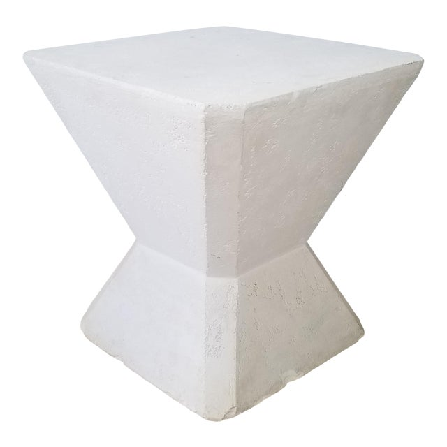 Vintage Postmodern Geometric Plaster Side Table For Sale