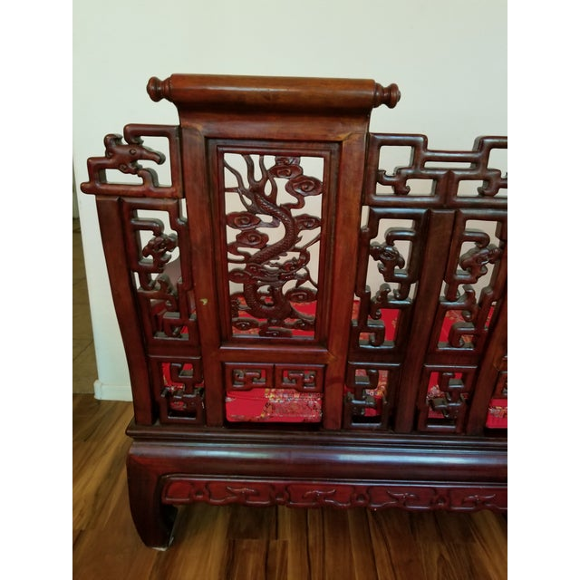 Red Vintage Mid Century Asian Carved Rosewood Settee For Sale - Image 8 of 12