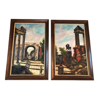 Roman Ruins Pair of Paintings by Frank Vaccaro 1971 For Sale