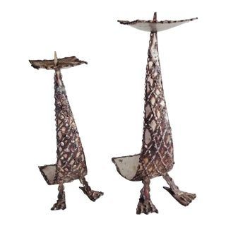 1960s Brutalist Metal Duck Feet Sculpture Candle Holders - a Pair For Sale