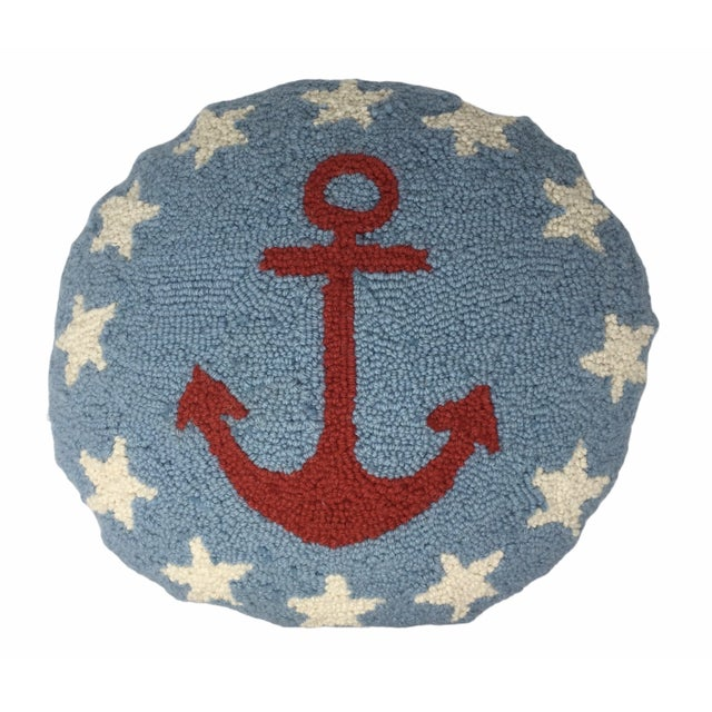 Pop Art Vintage Anchor Hook Round Pillow Cover For Sale - Image 3 of 3