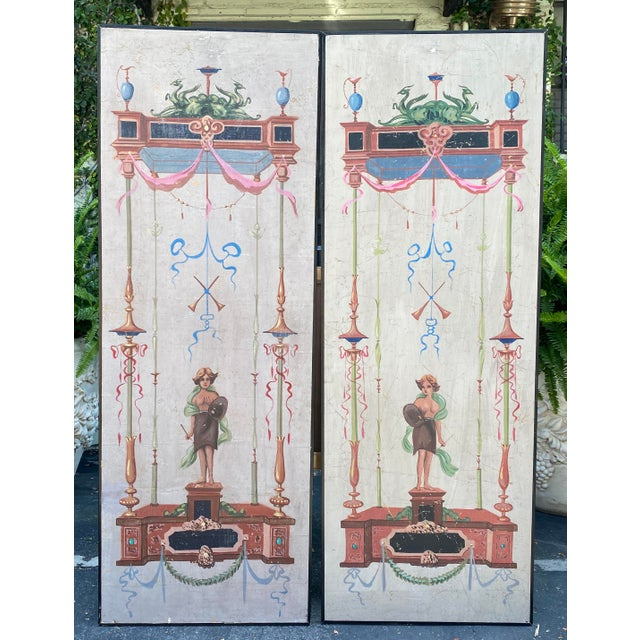 Paint Vintage Handpainted Tromp l'Oeil Neoclassical Panels - a Pair For Sale - Image 7 of 7