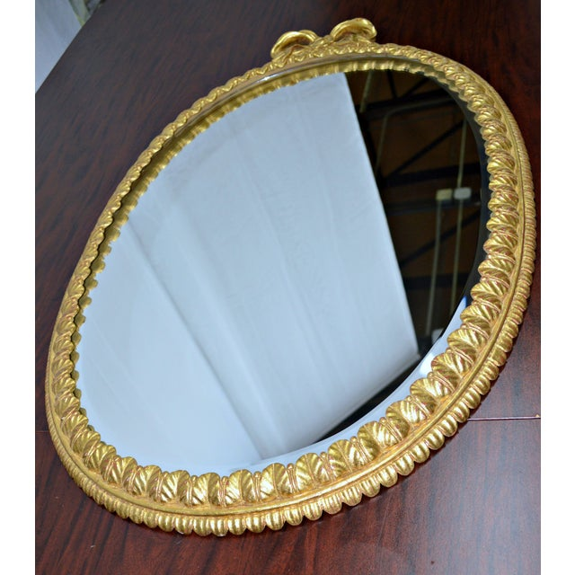 Oval Italian Gilt Mirror with Bow For Sale - Image 11 of 12