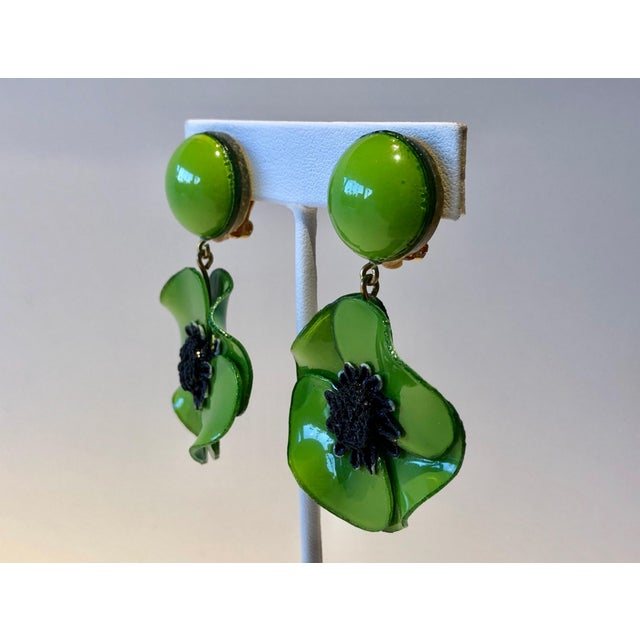 Green Cilea Green Poppy French Statement Earrings For Sale - Image 8 of 11