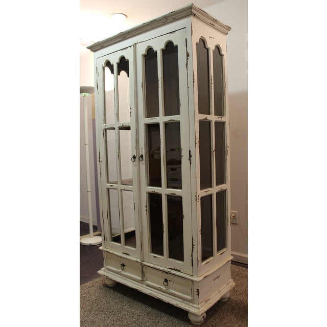 French Country White Distressed Pie Safe Cabinet - Image 2 of 11