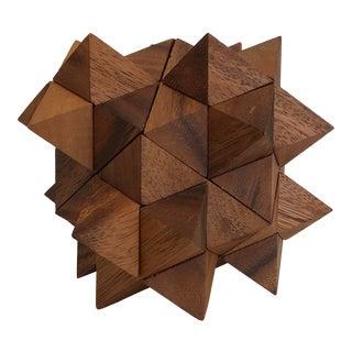 1980s Retro Walnut Wood Geometric Puzzle For Sale