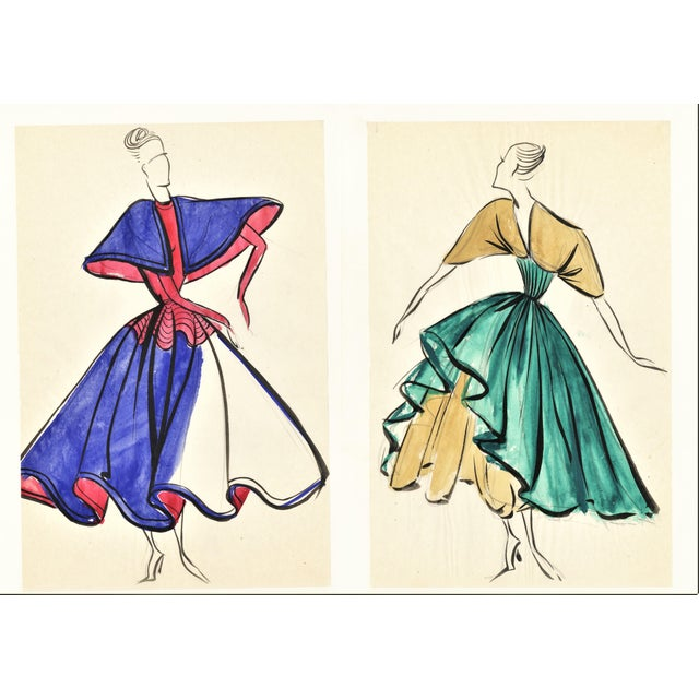 Pair-Original French Fashion Design Drawings For Sale In New York - Image 6 of 6