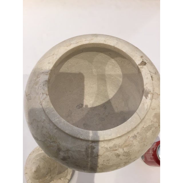Modern Large Beige Marble Vessel/Urn With Finial Lid For Sale In Atlanta - Image 6 of 7