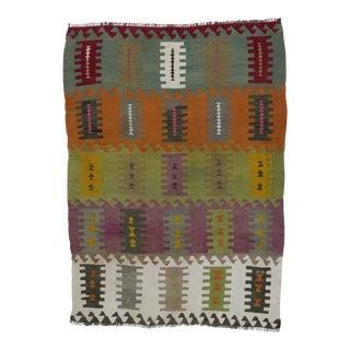 "Vintage Handwoven Kilim Rug - 3'8"" x 5'1"""