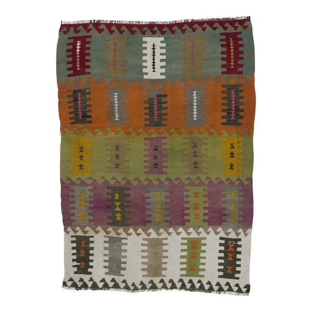 """Vintage Handwoven Kilim Rug - 3'8"""" x 5'1"""" For Sale"""
