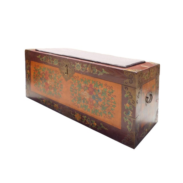 Floral Orange Brown Wood Trunk Bench Ottoman - Image 3 of 6