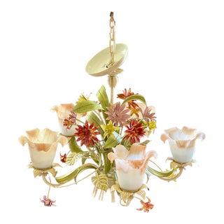 Vintage Floral Metal Chandelier For Sale