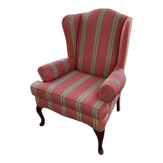 Vintage Red Striped Wingback Chair For Sale