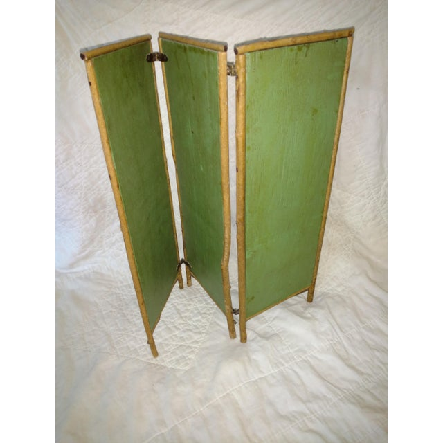 Asian Antique Chinoiserie Green Floral Bamboo Table Screen For Sale - Image 3 of 9