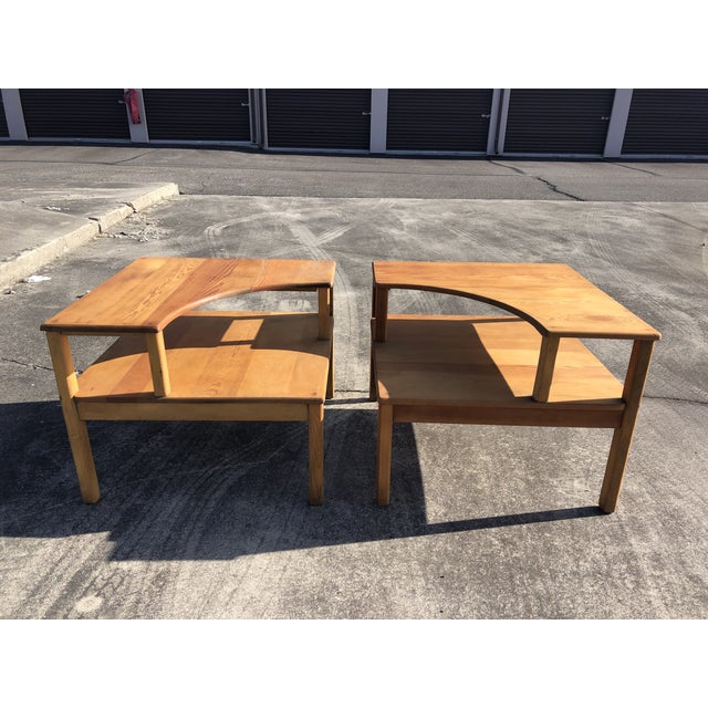 Large Pine Square Two Tier Side Tables - a Pair For Sale - Image 11 of 11