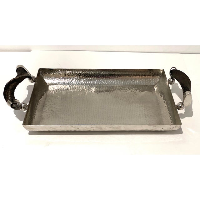 Late 20th Century Vintage Serving Tray Hammered Steel With Horn Handles For Sale - Image 5 of 11