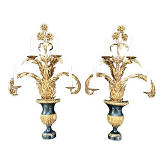 French Black and Gold Electrified Wall Sconces - a Pair For Sale
