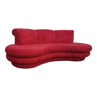 1980s Mid-Century Modern Adrian Pearsall for Comfort Red Curved Sofa For Sale
