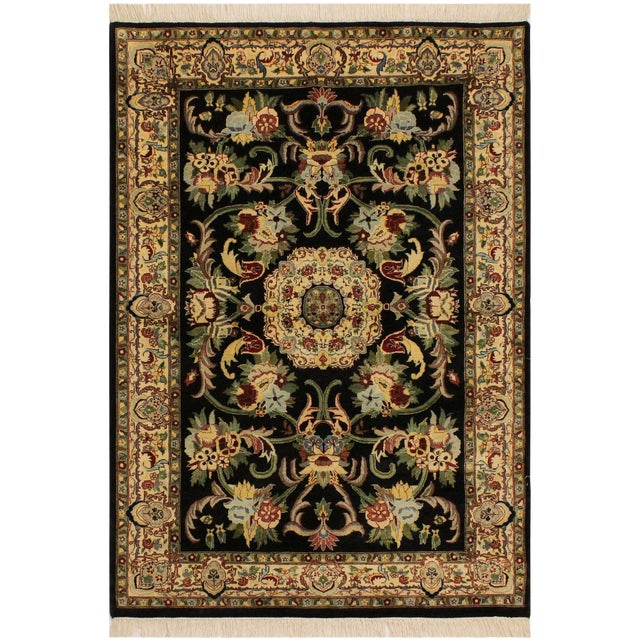 Anarkali Pak-Persian Eleanore Black/Ivory Wool Rug - 4'1 X 6'3 For Sale