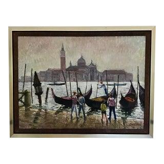 Vintage 1950's Venice Oil Painting For Sale