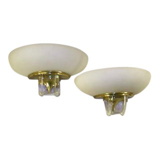 Pair of French Glass & Bronze Demilune Sconces For Sale