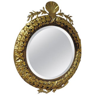 Neoclassic Gilt Tole Shell Motif Mirror For Sale
