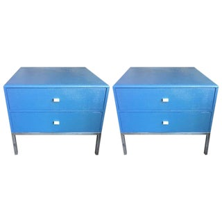 Pair of Grasscloth Night Chests by Ron Seff For Sale