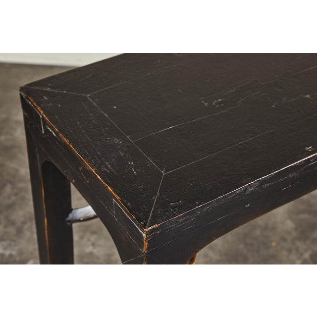 18th C. Ming Black Crackled Lacquer Console Table For Sale - Image 9 of 10