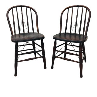 Antique Country Solid Wood Windsor Chairs - a Pair