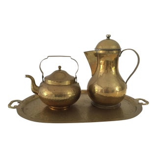 Vintage 3 Pieces Solid Brass Tea Pot Set With Tray For Sale