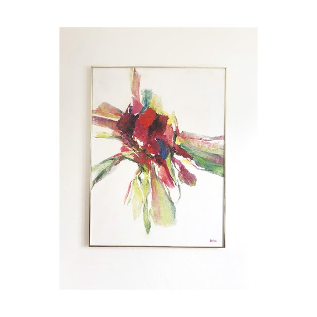 Large Vintage Abstract Paint and Paper Mache on Canvas by Nettie Hardman For Sale - Image 12 of 12