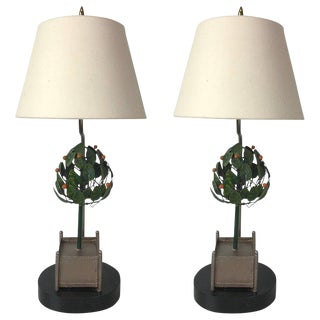 Pair of Tole Orange Tree Topiary Lamps For Sale
